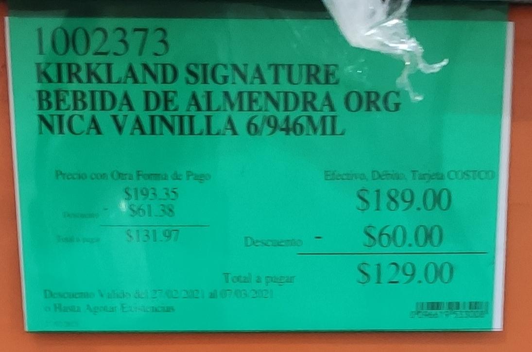 Costco - Kirkland Signature Bebida de almendra Orgánica Vainilla (sin endulzar)