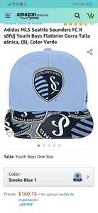 Amazon: Gorra Adidas MLS Seattle Sounders para niño