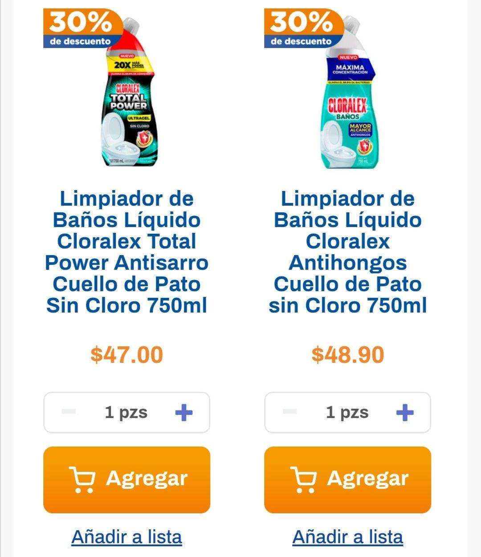 Chedraui: 30% de descuento en limpiadores de baño líquidos Cloralex 750 ml