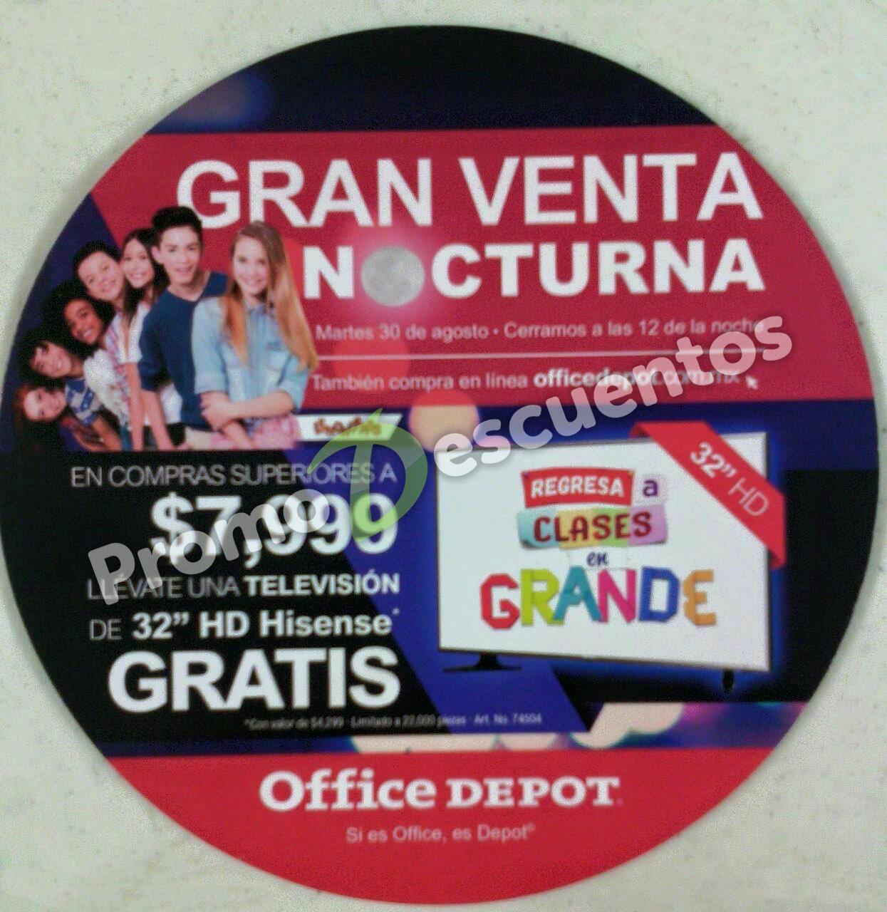 """Venta Nocturna Office Depot agosto 30: TV LED de 32"""" Hisense GRATIS con compra mínima y más"""