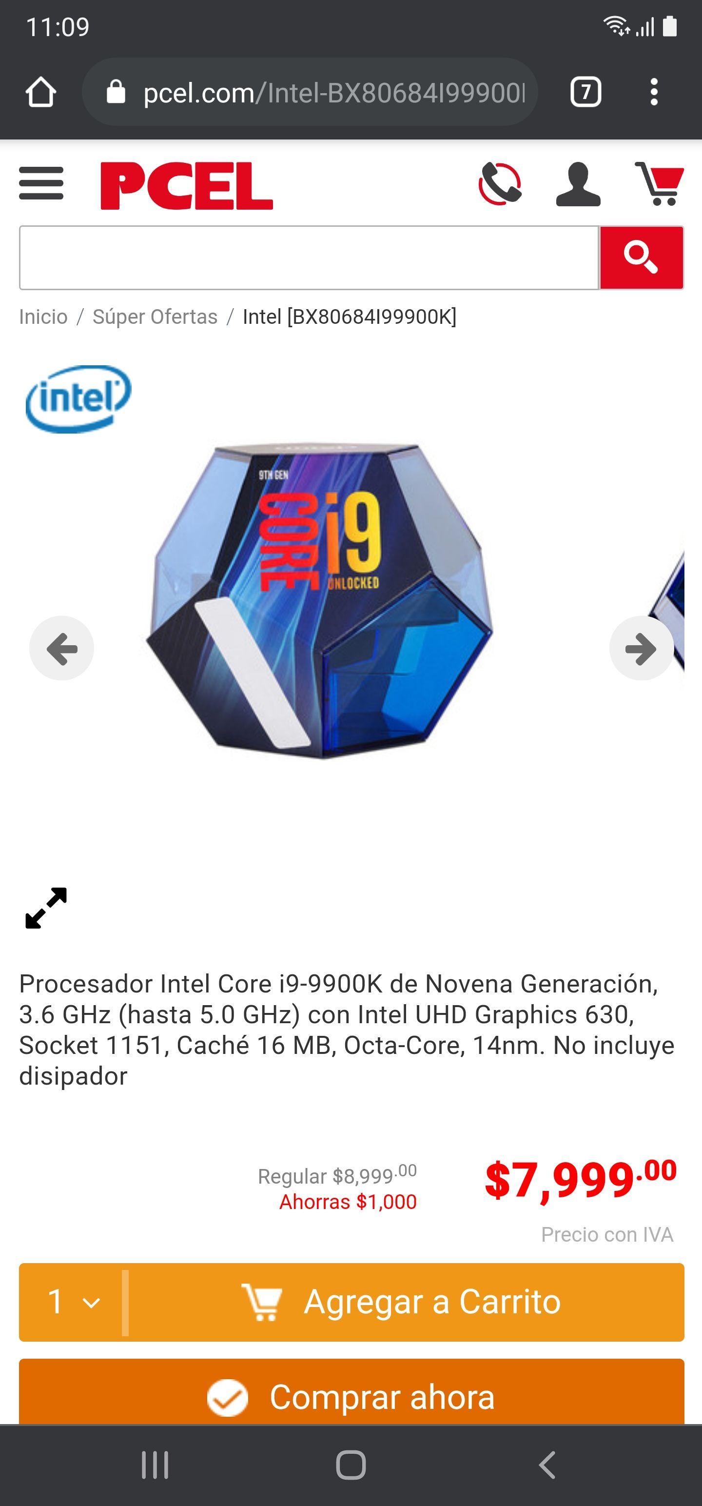PCEL, Intel core i9 9900k con envío terrestre gratis