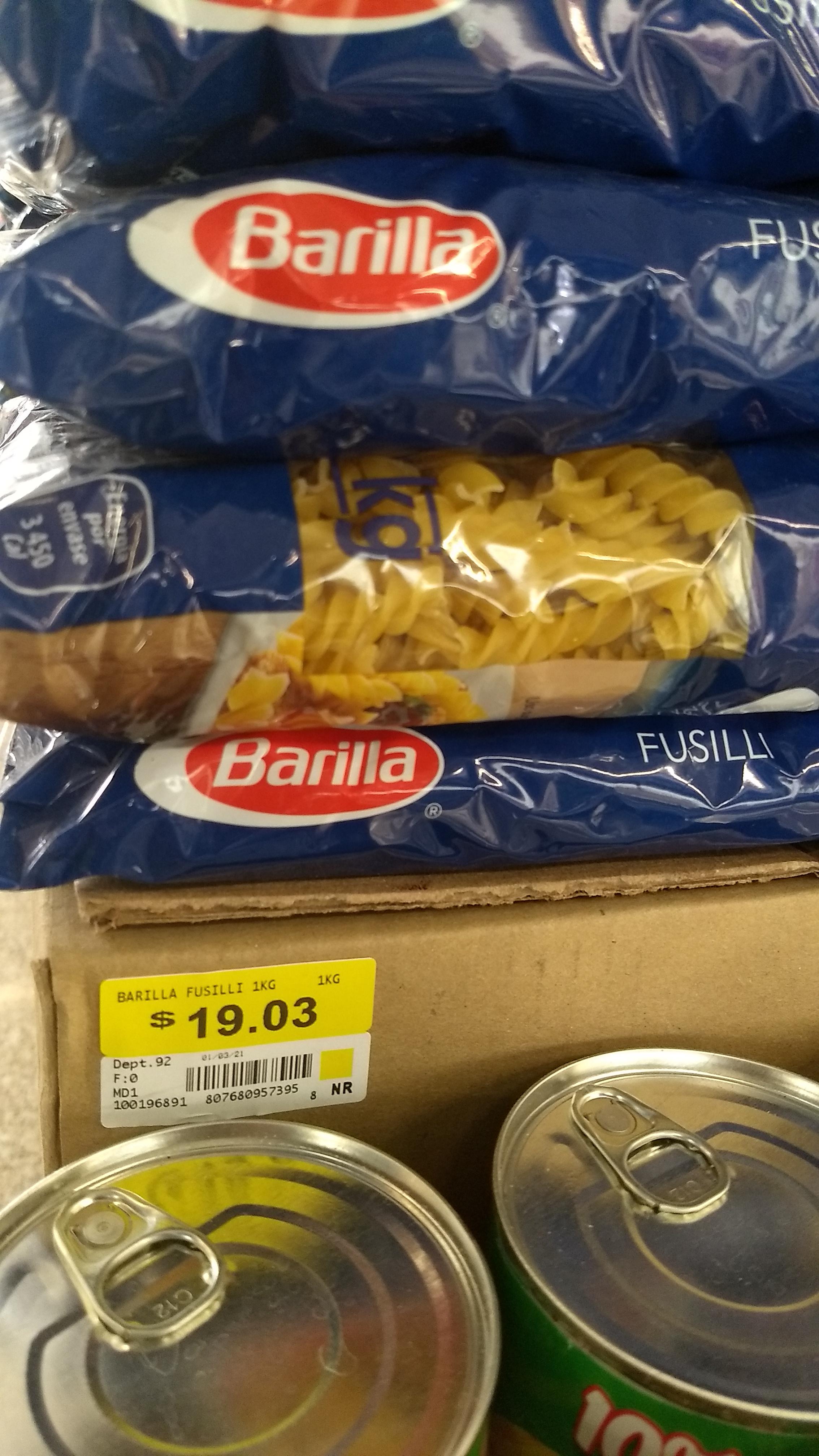 Sopa Barilla Fussili 1kg $19.03 Walmart Taxqueña