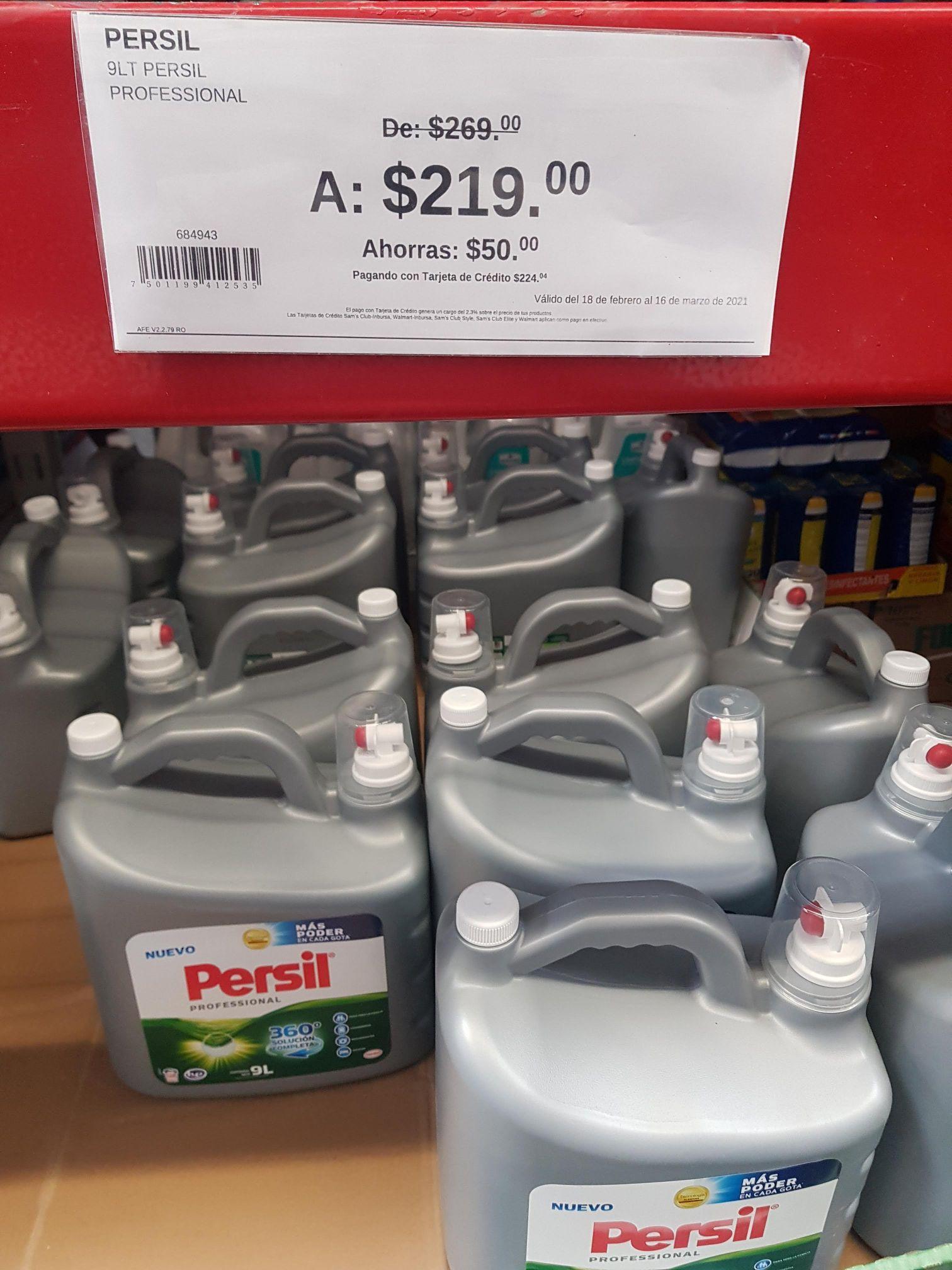 Detergente líquido Persil de 9 litros en Sam's Club.