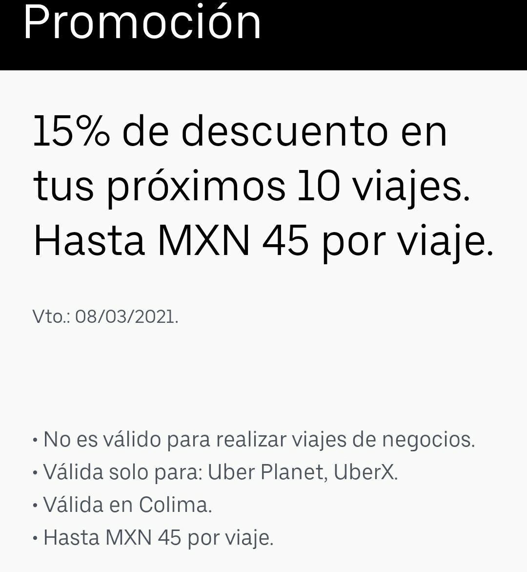 Uber Colima: 15% de descuento en 10 viajes.