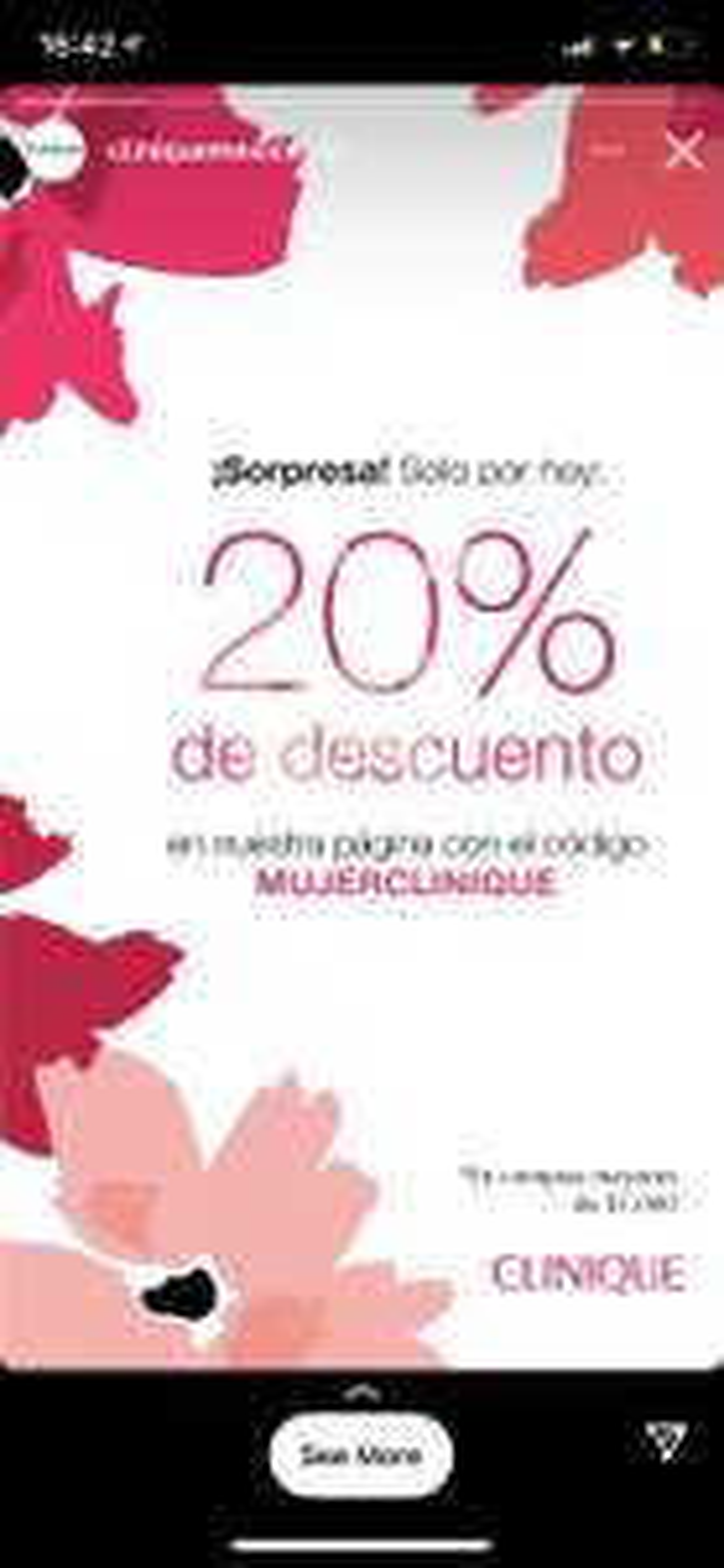 Clinique: Solo hoy! 20% descuento + cosmetiquera y 6 minis