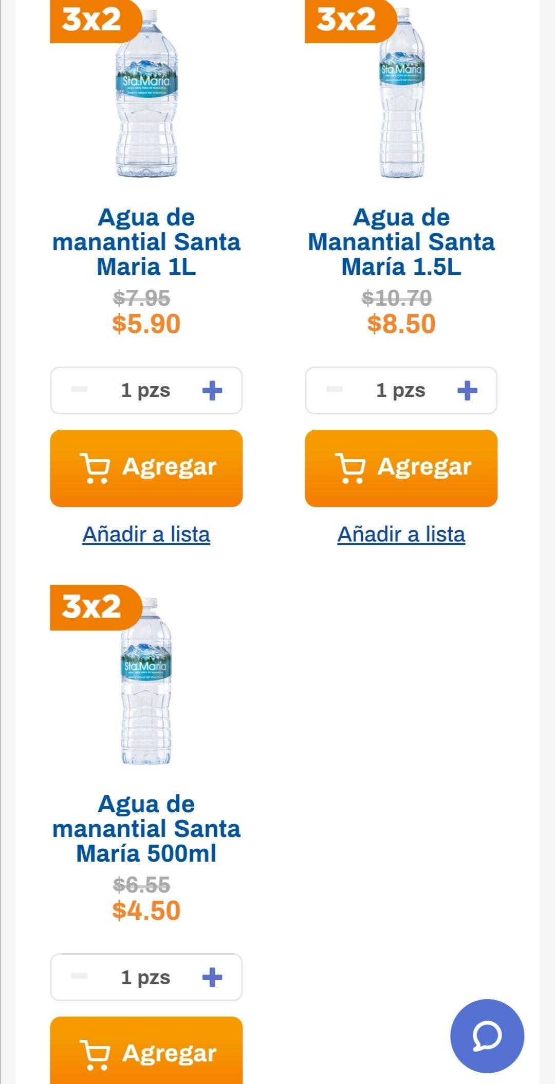 Chedraui: 3 x 2 en agua Sta. Maria (1.5L 3x$17... 1L 3x$11.80... 500ml 3 x $9)
