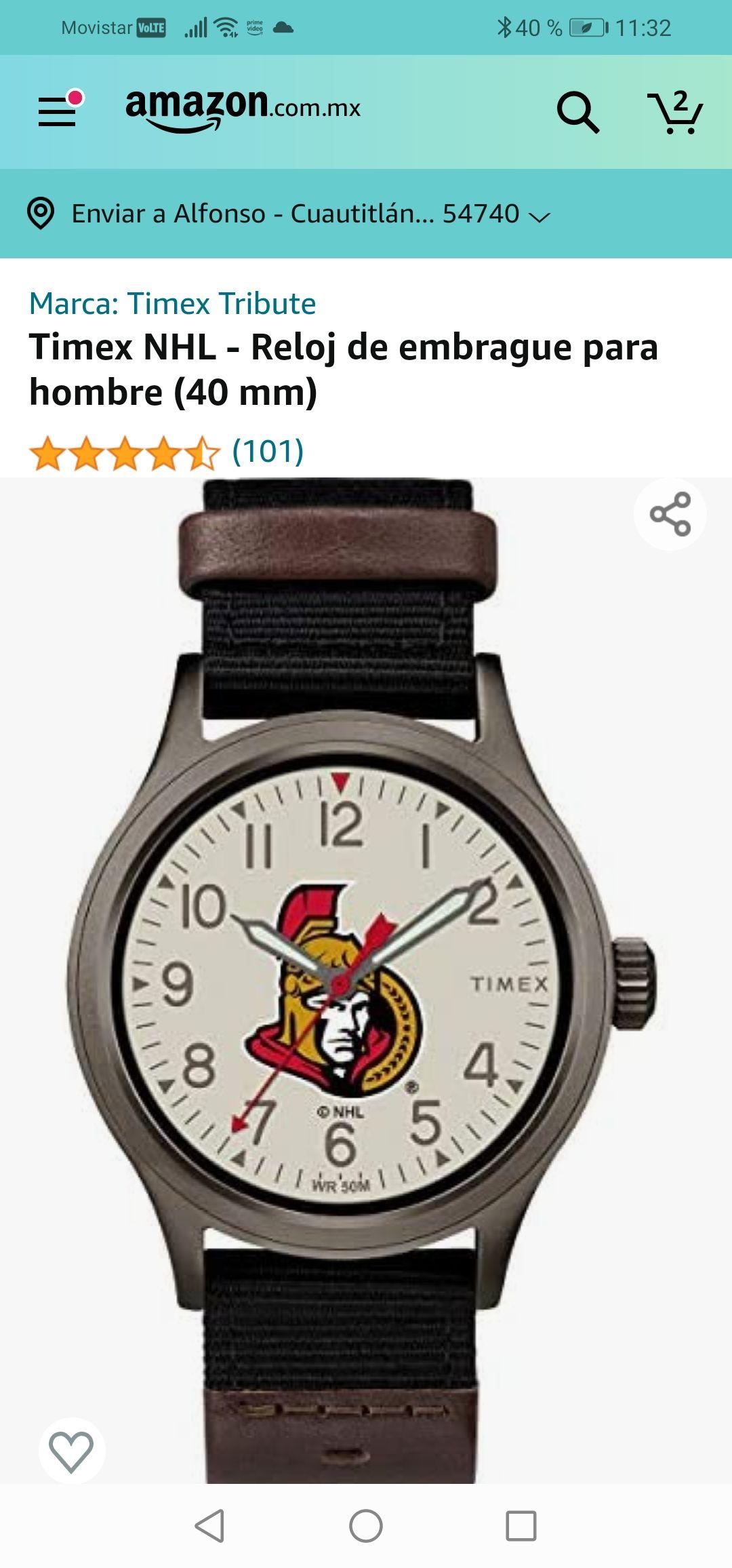 Amazon : Timex NHL - Reloj de embrague para hombre (40 mm)