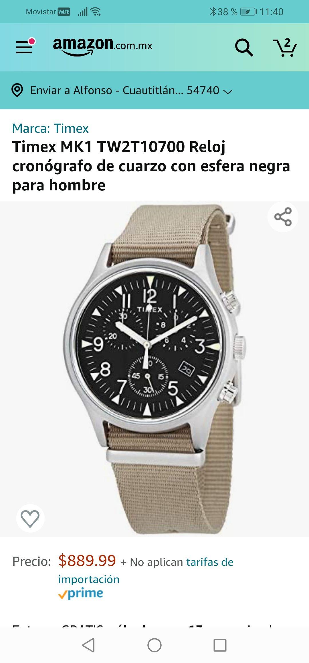 Amazon : Timex MK1 TW2T10700 Reloj cronógrafo de cuarzo con esfera negra para hombre