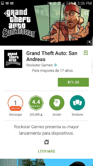 Google Play: Grand Theft Auto San Andreas.