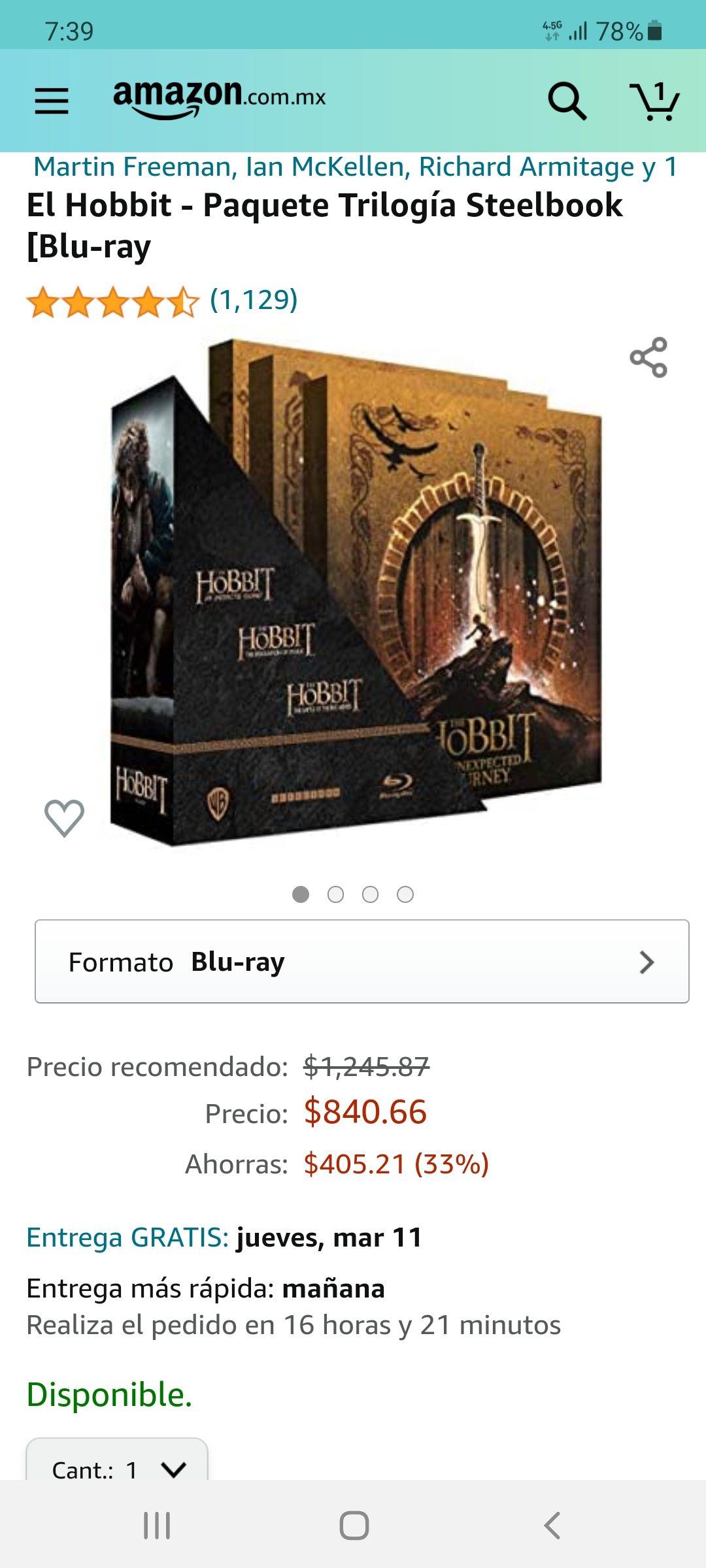 Amazon: El Hobbit - Paquete Trilogía Steelbook [Blu-ray]