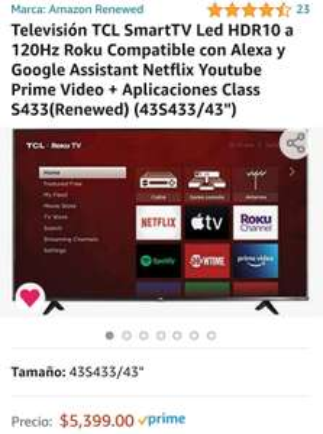 "Amazon: TCL smartTV 43"", renewed, 4K, 120ghz, HDR10"