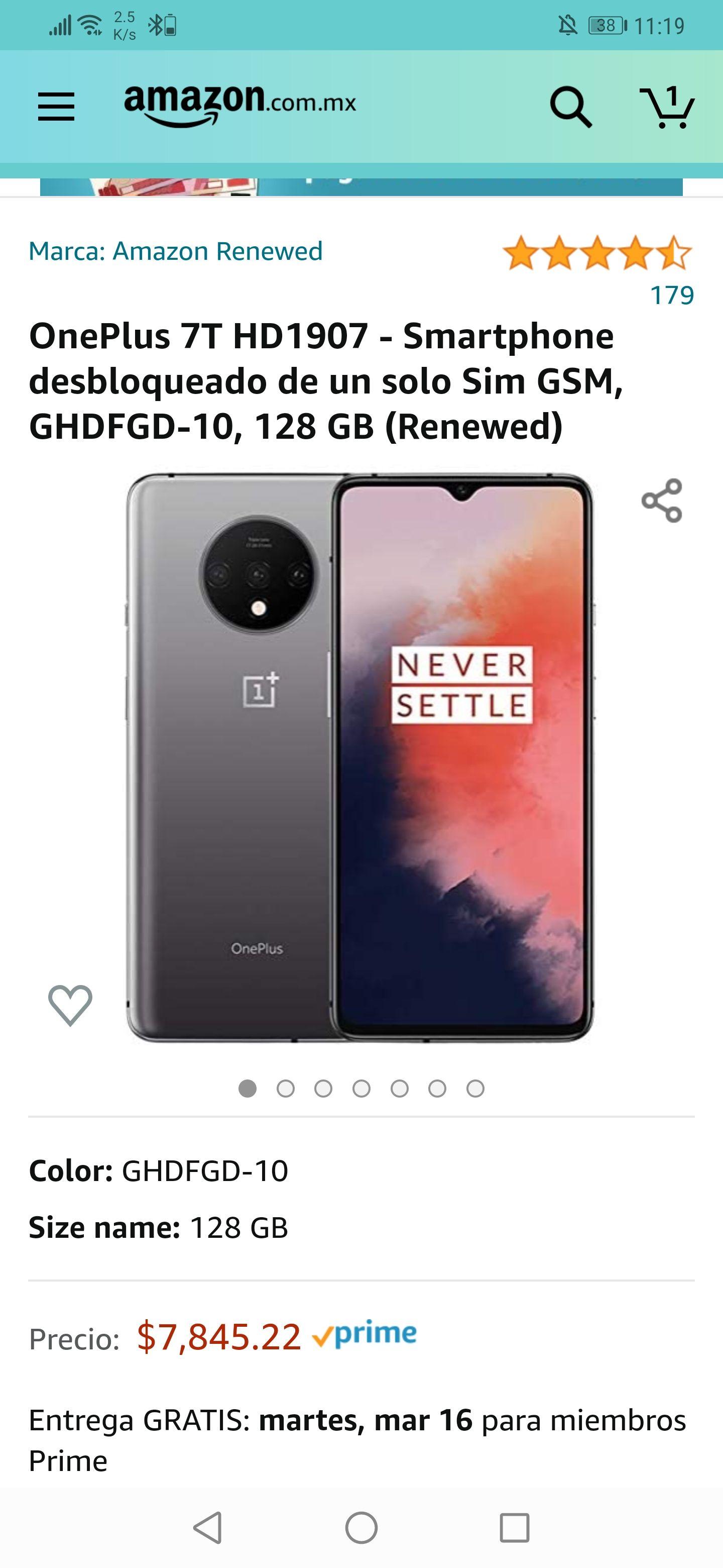 Amazon: OnePlus 7T Smartphone desbloqueado 128 GB (Renewed)