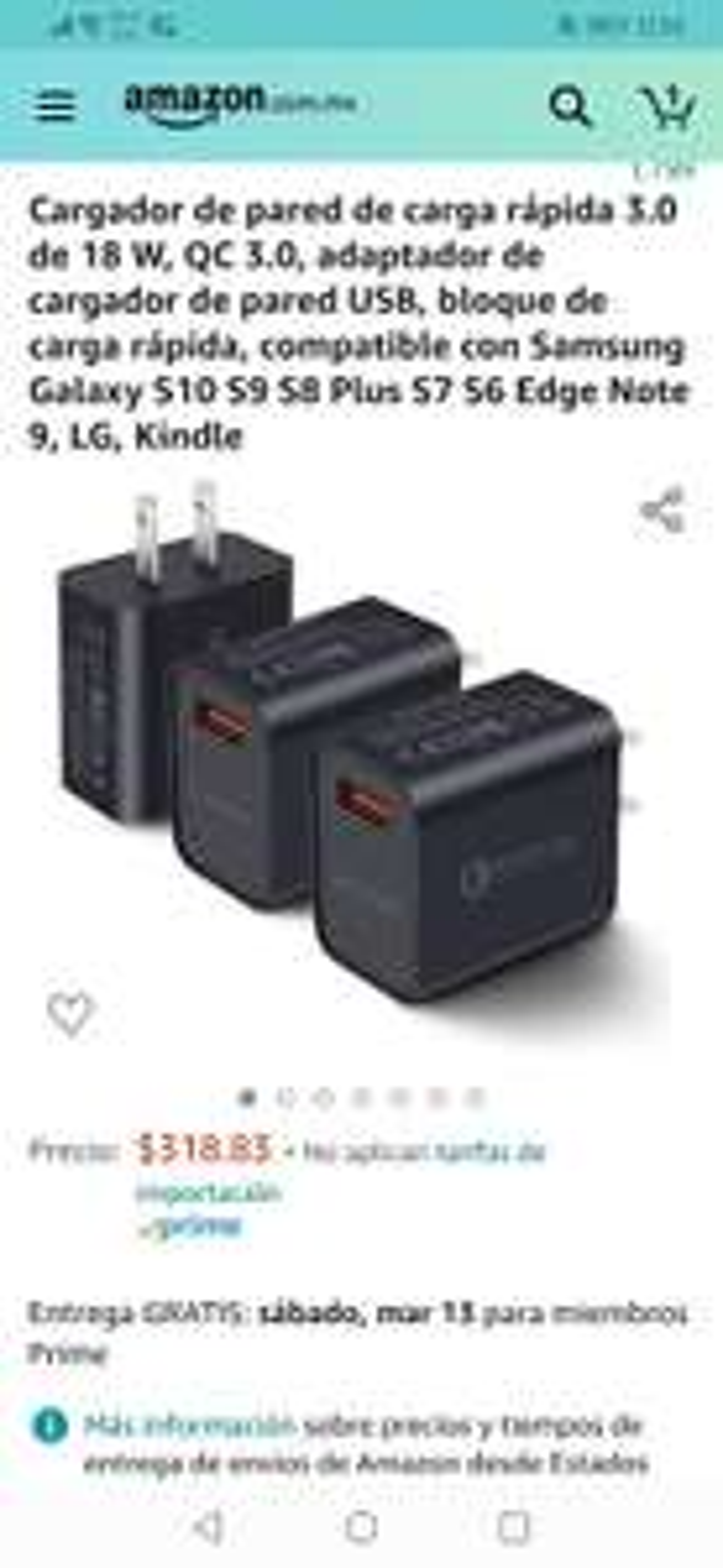 Amazon: Pack 3 Cargadores de Pared con Carga rápida 3.0 de 18W