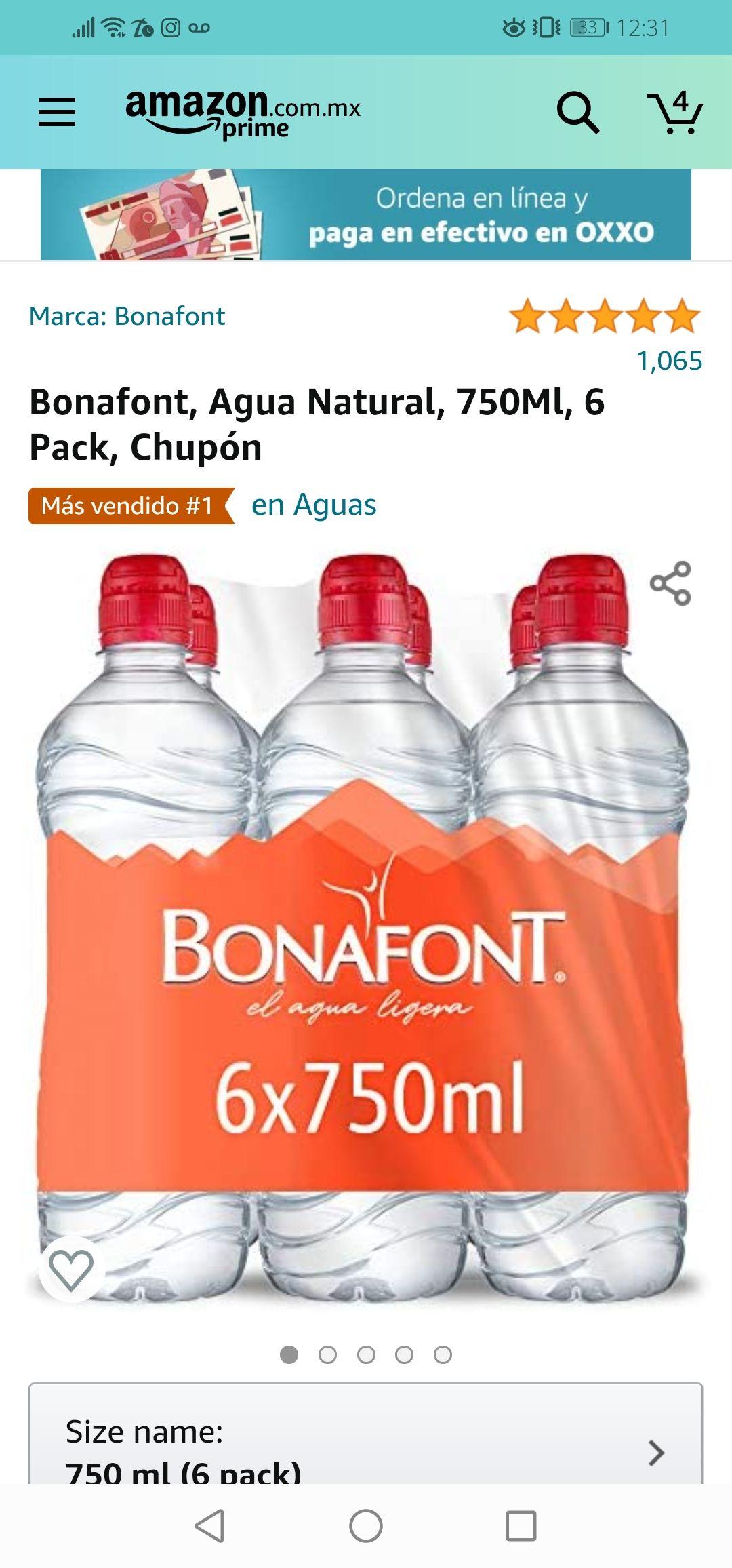 Amazon: Bonafont, Agua Natural, 750Ml, 6 Pack, Chupón