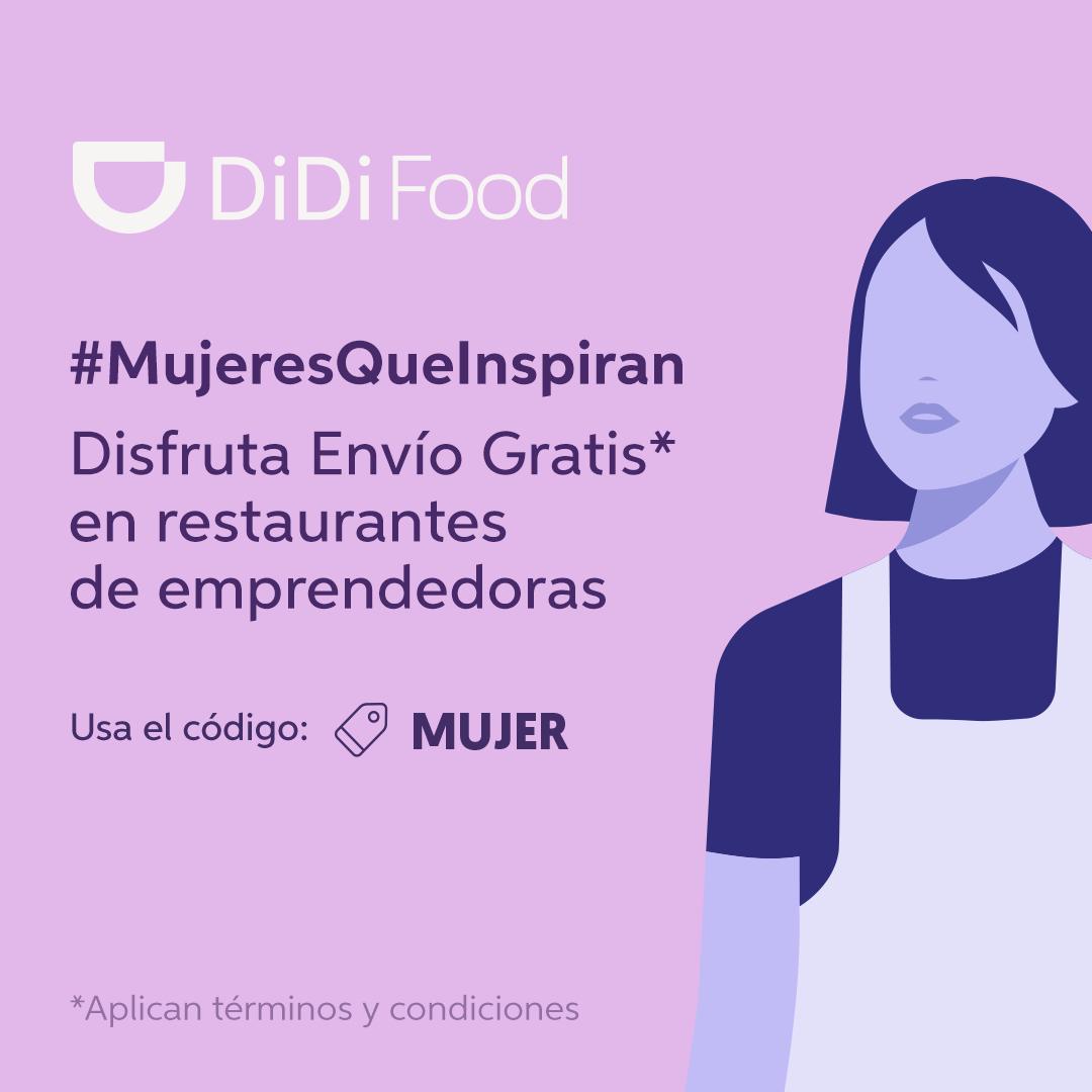 Cupón Didi Food Día de la Mujer: Envío gratis en restaurantes de mujeres emprendedoras