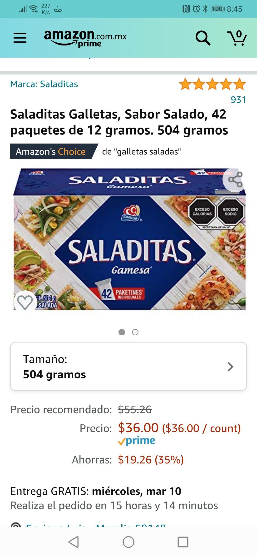 Amazon: Saladitas Galletas, Sabor Salado, 42 paquetes de 12 gramos. 504 gramos