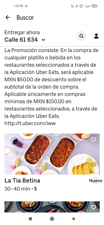 Uber eats se suma igual q didi food - $50 en restaurantes liderados por mujeres compra mínima de $150