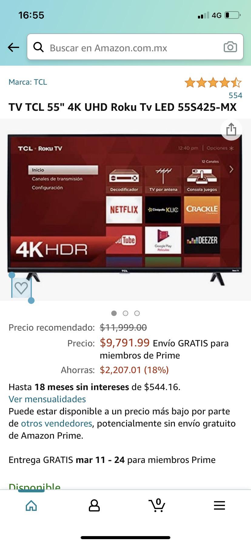 """Amazon: TV TCL 55"""" 4K UHD Roku Tv LED 55S425-MX"""