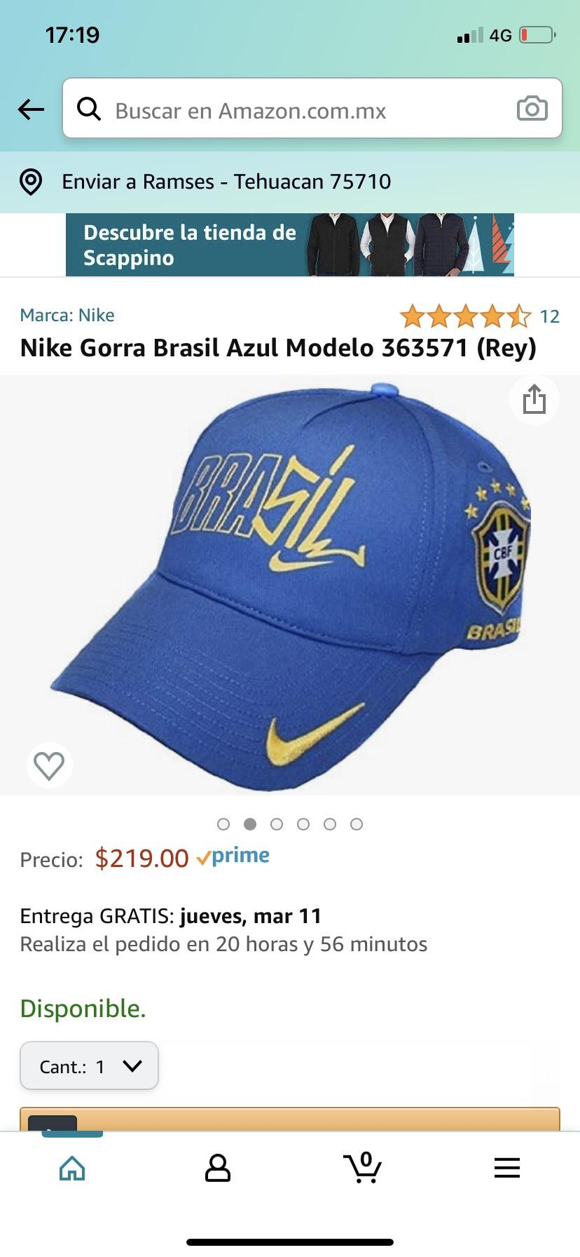 Amazon: Nike Gorra Brasil Azul Modelo 363571 (Rey)