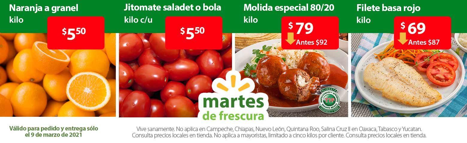 Walmart: Martes de Frescura 9 Marzo: Jitomate Saladet ó Jitomate Bola ó Naranja $5.50 kg... Manzanas a Granel ó Pera D'Anjou $29.90 kg.