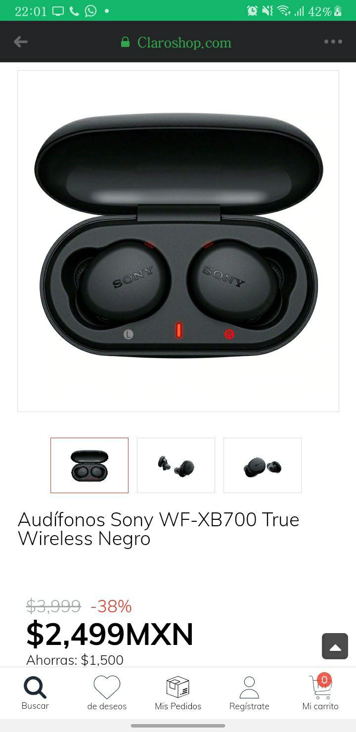 Claro Shop: Audífonos Sony WF-XB700 True Wireless Negro