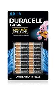 Amazon: Duracell Pila Aa Turbo Contiene 1 Paquete con 18 Pilas, Color, 18 Count
