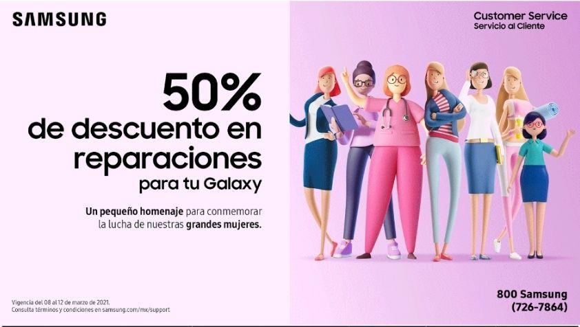 Samsung Store 50% descuento reparaciones día de la mujer