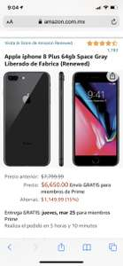 Amazon iPhone 8plus 64gb (Renewed)