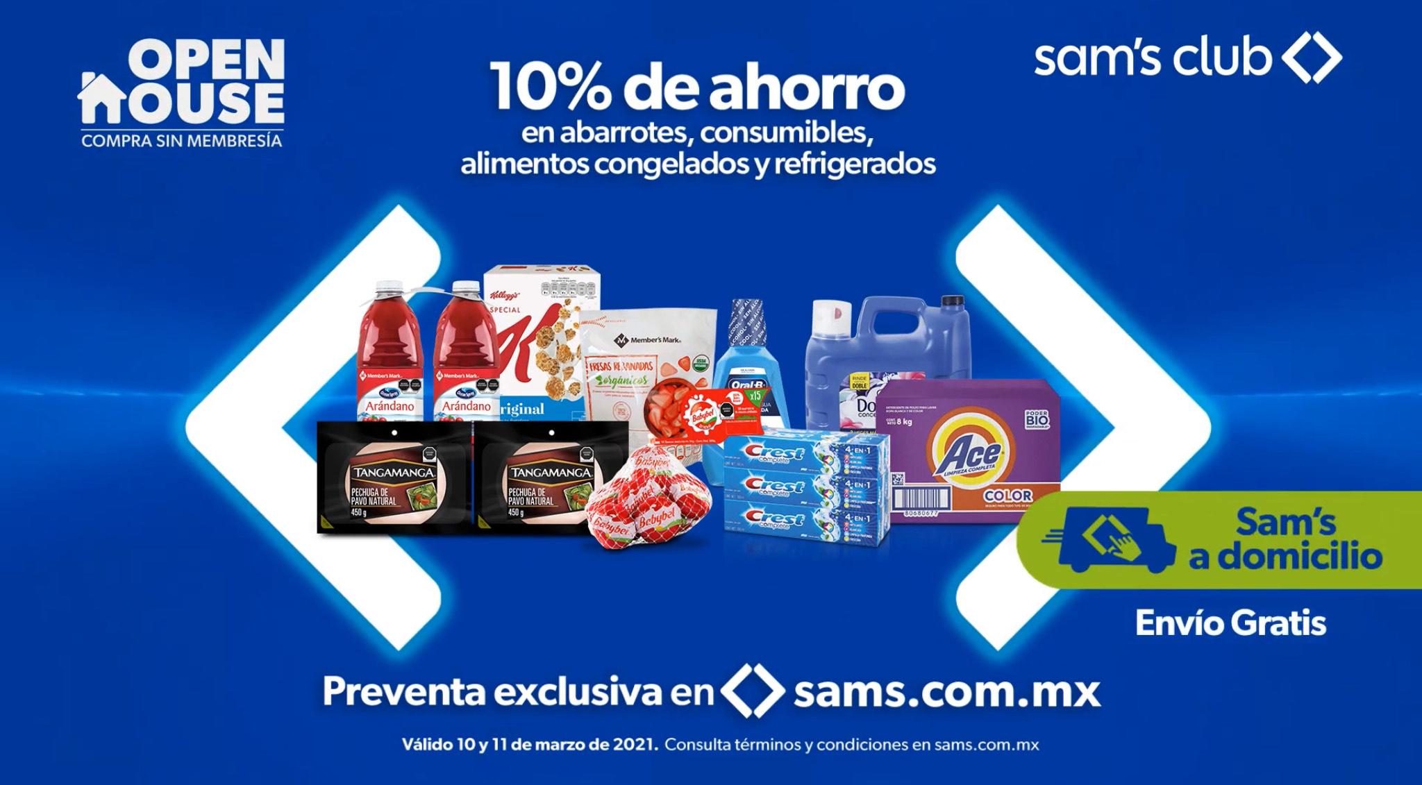 Sam's Club: 10% de Descuento adicional en Abarrotes, Consumibles, Alimentos Congelados y Refrigerados