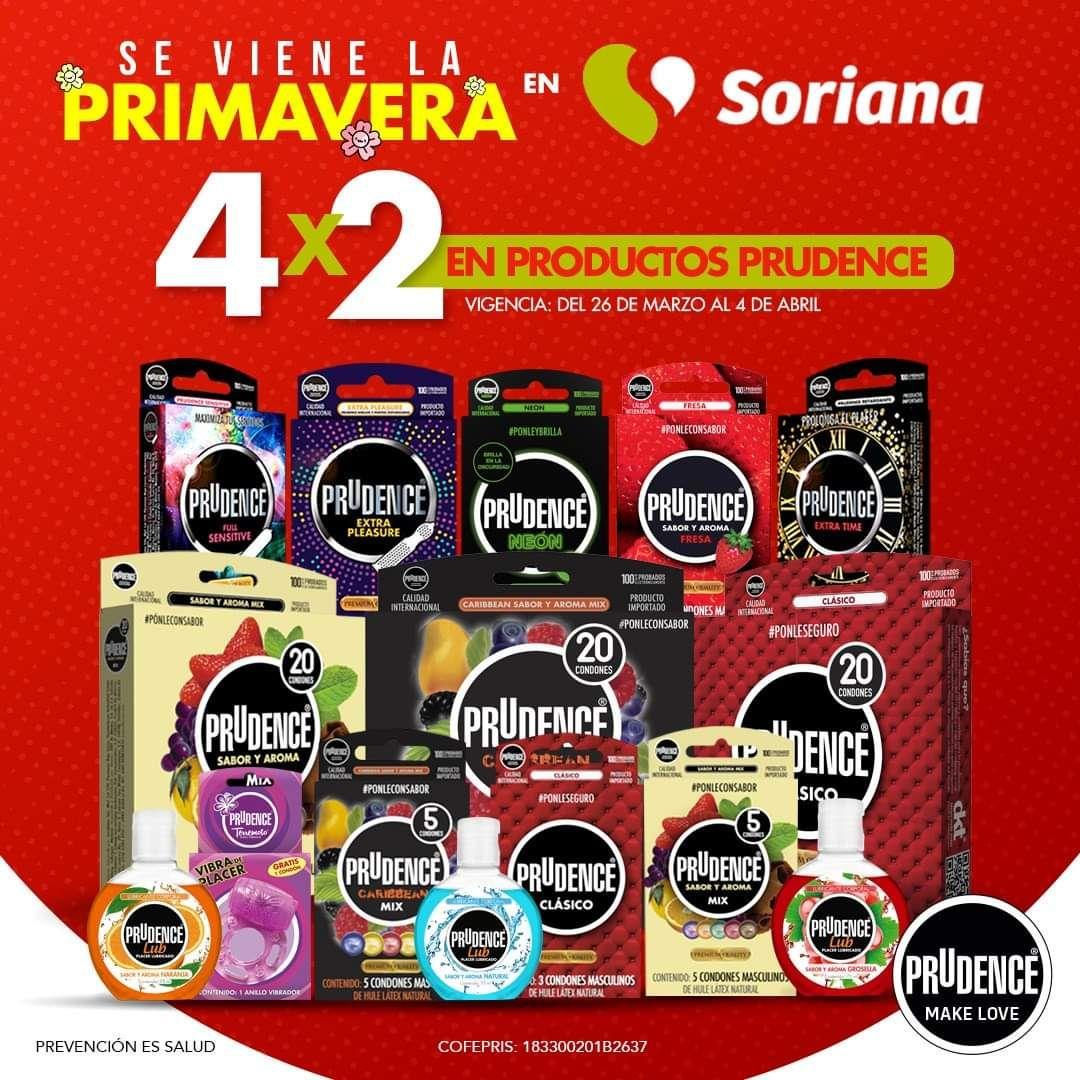 Soriana: 4x2 en productos prudence de marzo 26 al 4 de abril