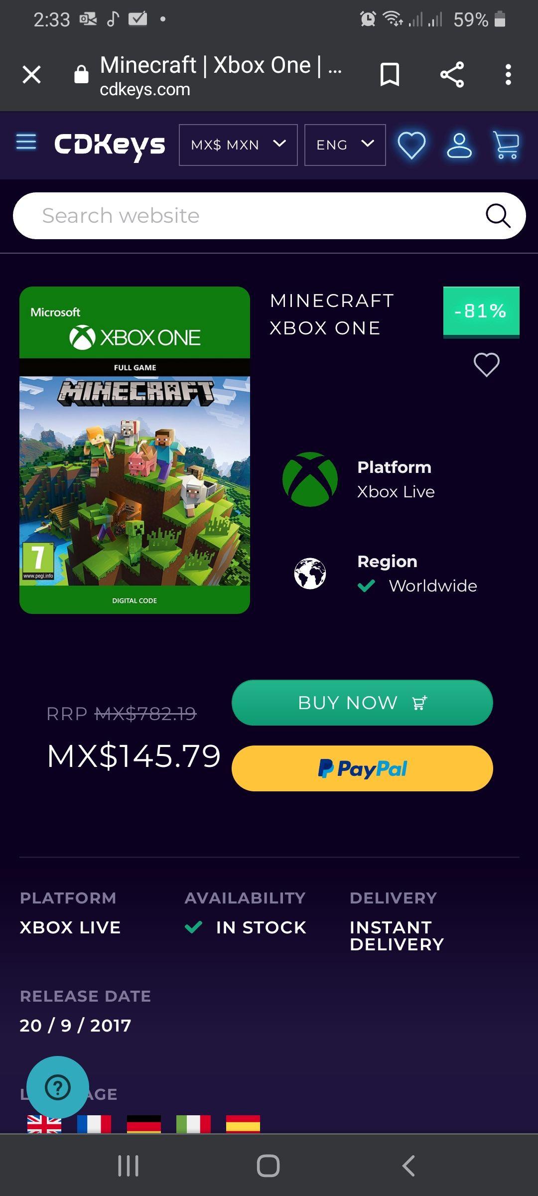 CDKeys: Minecraft Xbox One