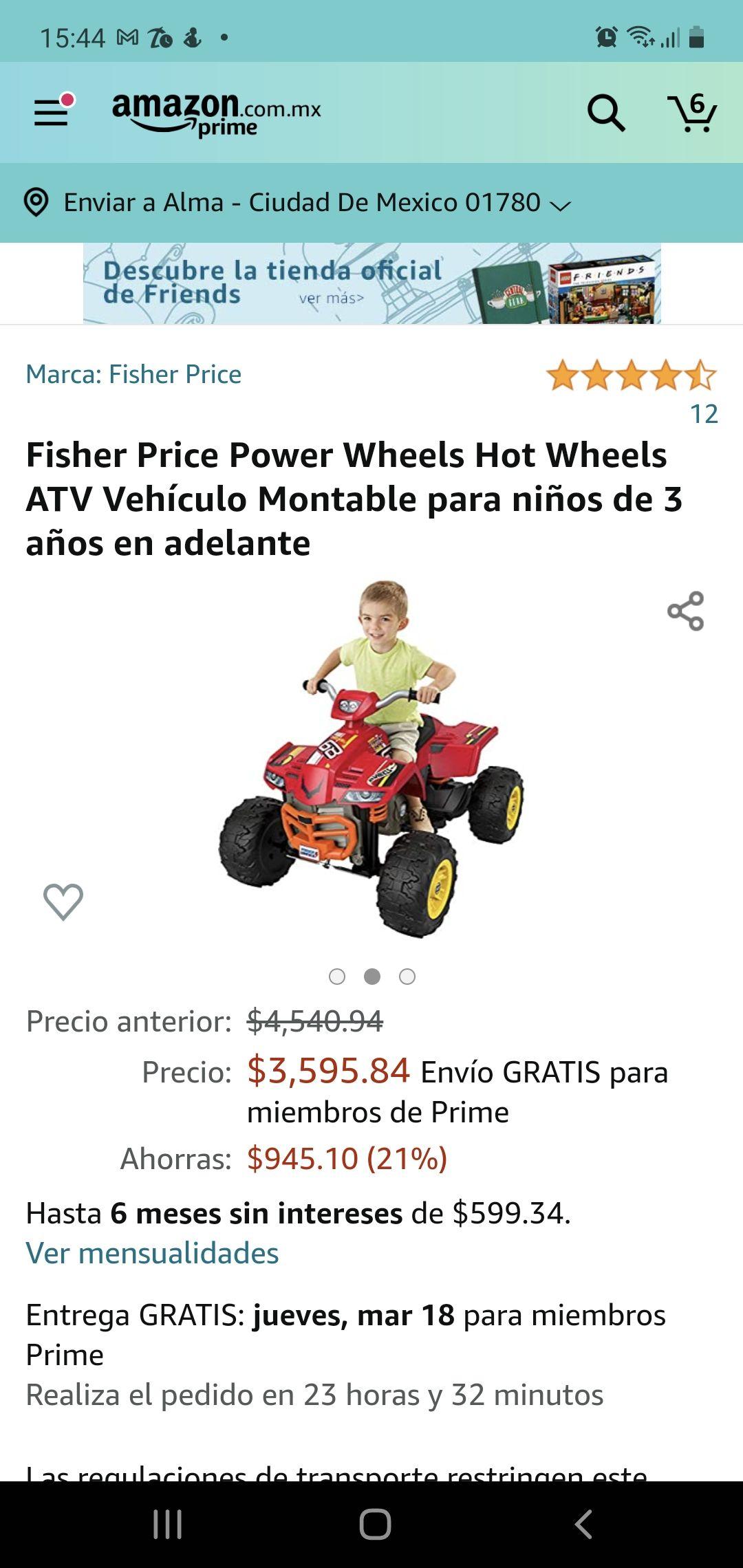 Amazon: Fisher Price Power Wheels Hot Wheels ATV Vehículo Montable para niños