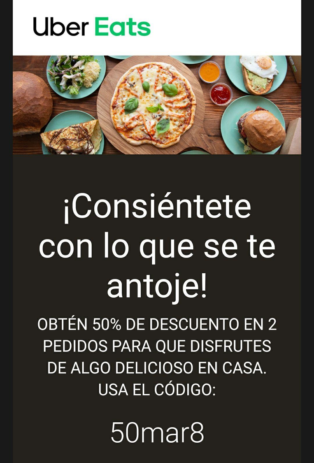 Cupón Uber Eats 50%