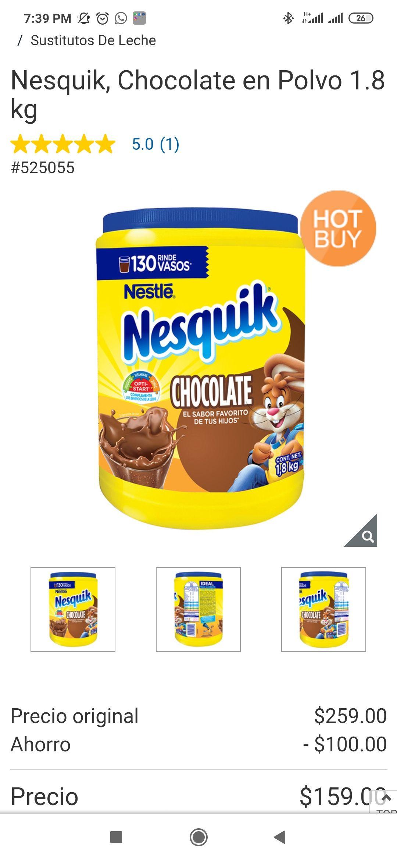 Costco: Nesquik, Chocolate en Polvo 1.8 kg