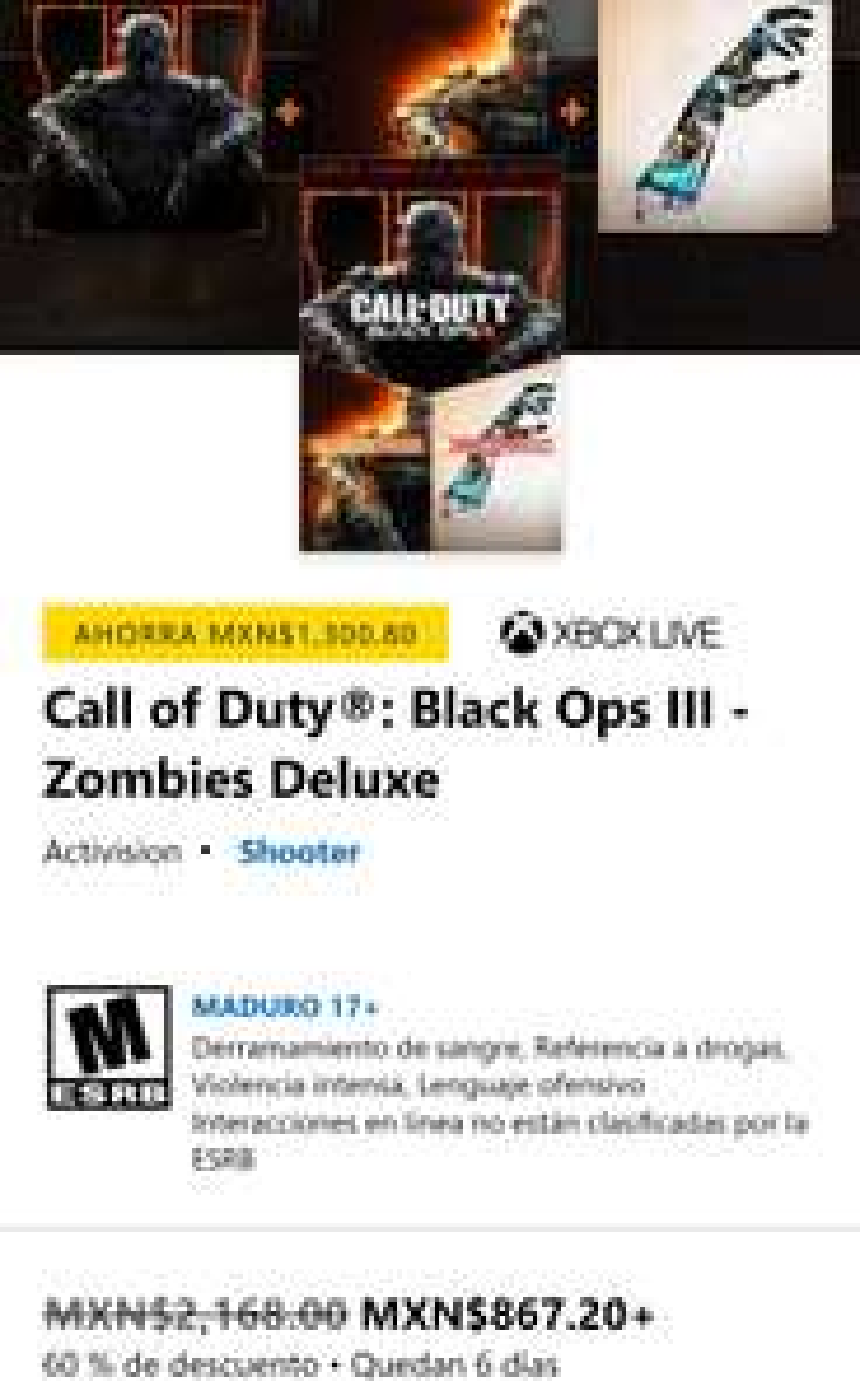 Microsoft Store: CoD Black Ops III - Zombies Deluxe (Xbox)