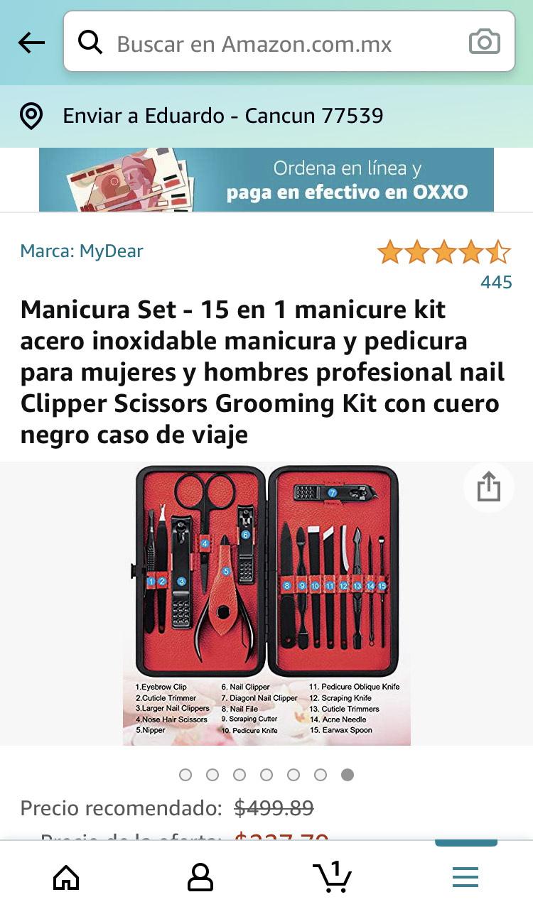 Amazon: Manicura Set - 15 en 1 oferta relámpago