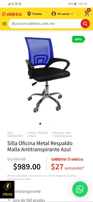 Elektra: Silla Oficina Metal Respaldo Malla Antitranspirante Azul