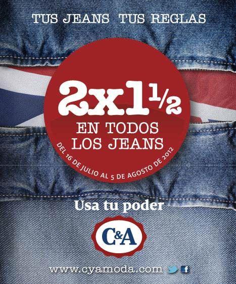 C&A: 2 por 1 y medio en todos los jeans