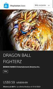 Play Station Store: Dragón ball fighterZ