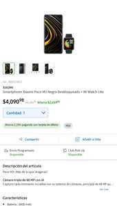 Sam's Club: Xiaomi Poco M3 de 128gb con Mi Watch lite