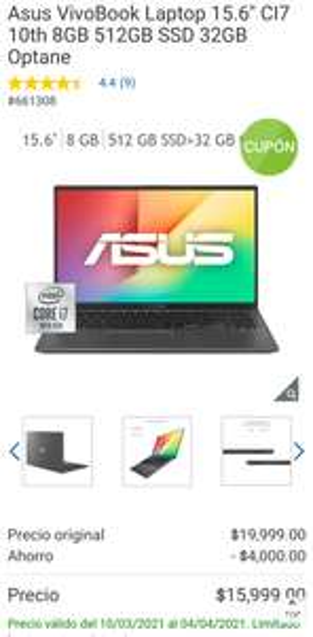 "Costco: Asus VivoBook Laptop 15.6"" CI7 10th 8GB 512GB SSD 32GB Optane"