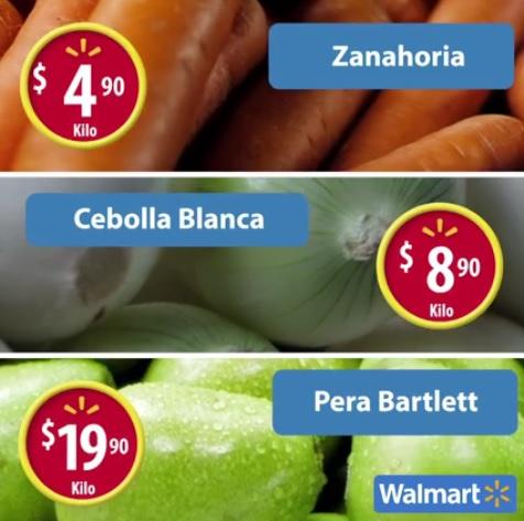 Walmart: Martes de Frescura 30 Agosto: Zanahoria $4.90, Cebolla Blanca $8.90, Pera Bartlett $19.90 kg. y Carnes