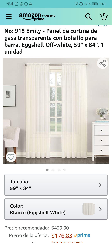 Amazon Panel de cortina de gasa transparente