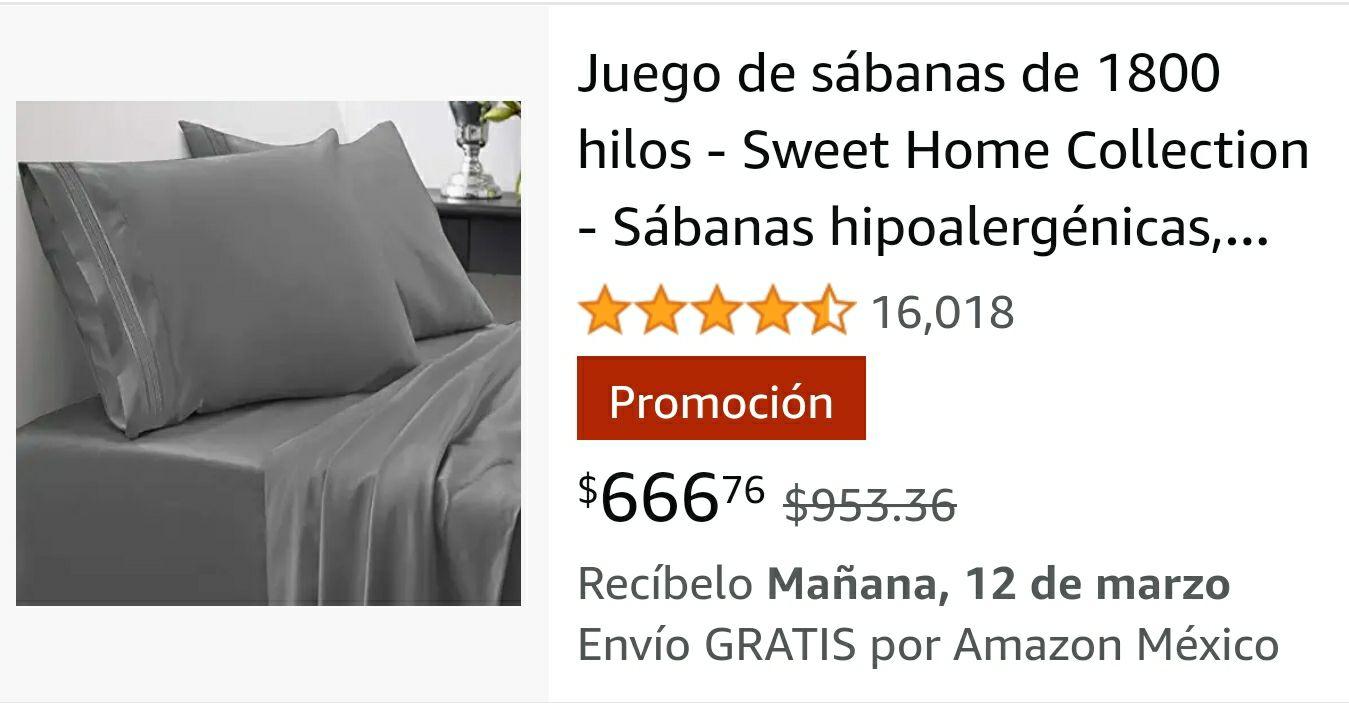 Amazon: Sabanas diferente medidas (buen diseño)