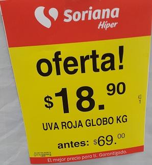 Soriana Híper y Súper: Uva Roja Globo $18.90 kg. y más