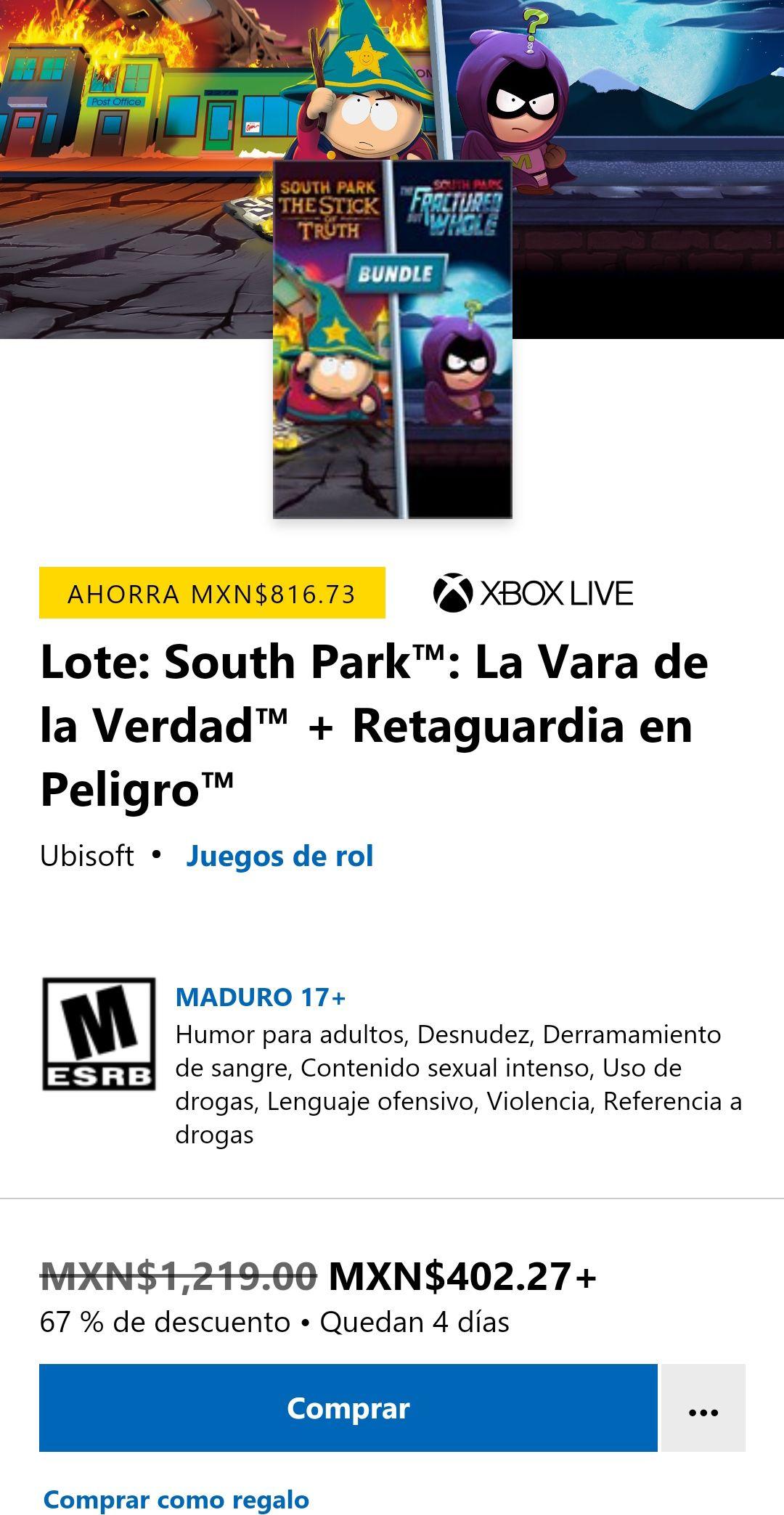 Xbox: South park los 2 juegos la vara de la verdad y retaguardia en peligro