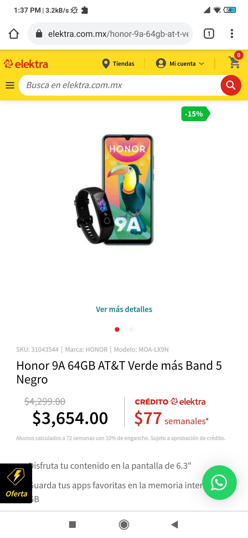 Elektra: Honor 9A, Versión 64 GB, AT&T, Color Verde + Honor Band 5