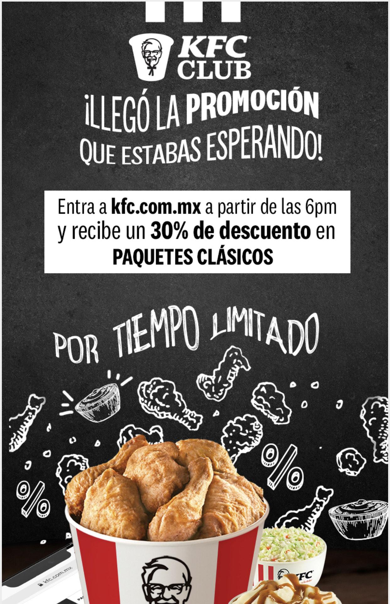 KFC: 30% de descuento en Clásicos