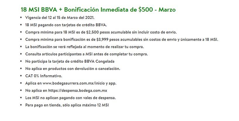 Bodega Aurrera: 18 MSI BBVA + Bonificación Inmediata de $500 - Marzo