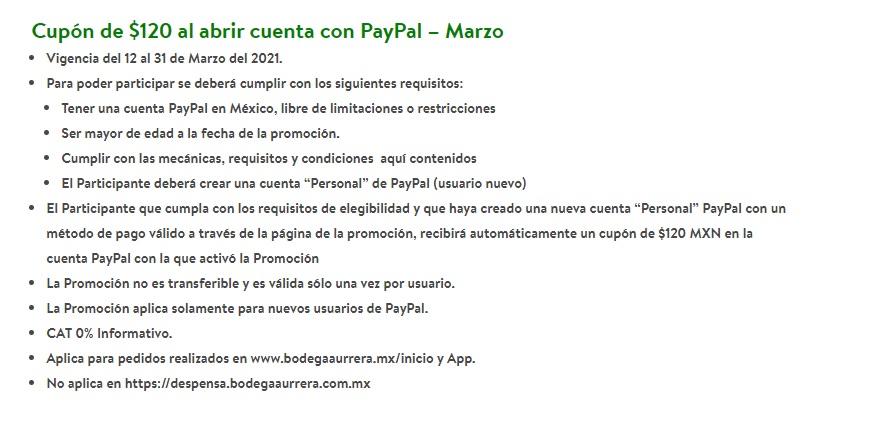 Bodega Aurrera: Cupón de $120 al abrir cuenta con PayPal – Marzo
